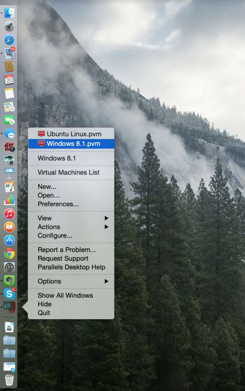 Changing your OS in Parallels is quick and easy… just right-click the Parallels icon, select Windows 8.1 and you'll be working in PaintShop Pro in no time.