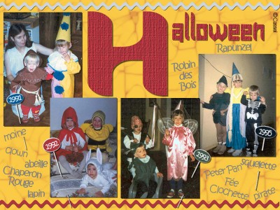 Halloween costumes on a scrapbook page