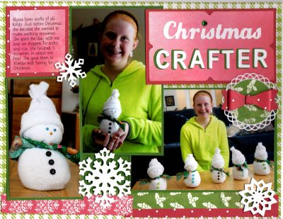 digital scrapbook page about snowman crafting