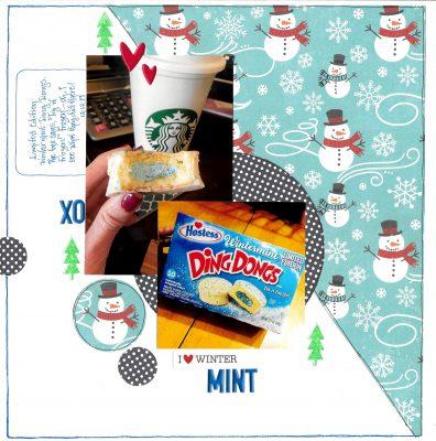 digital scrapbook page about snowman
